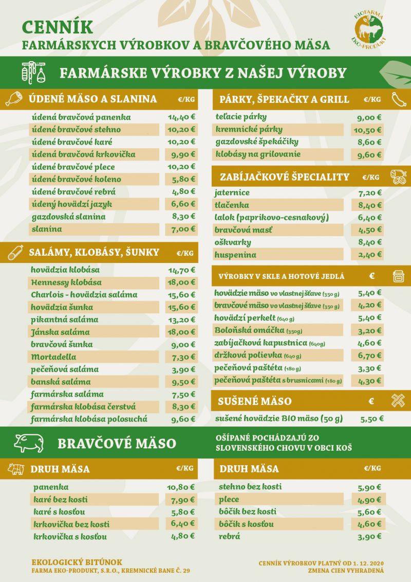 Cenník farmárskych výrobkov a bravčového mäsa